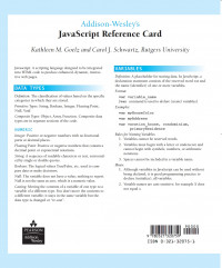 Addison Wesley's Javascript Reference Card