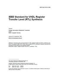 Standard for VHDL Register Transfer Level (Rtl) Synthesis